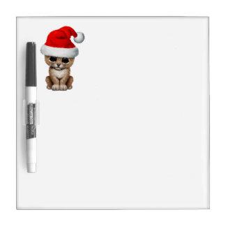 Cute Lion Cub Wearing a Santa Hat Dry Erase Board