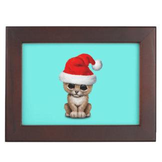 Cute Lion Cub Wearing a Santa Hat Keepsake Box