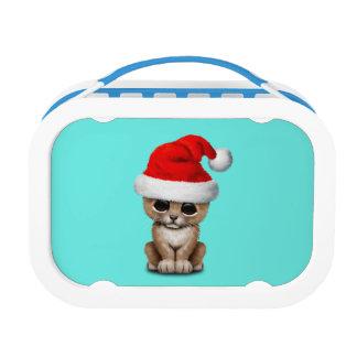 Cute Lion Cub Wearing a Santa Hat Lunch Box