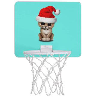 Cute Lion Cub Wearing a Santa Hat Mini Basketball Hoop