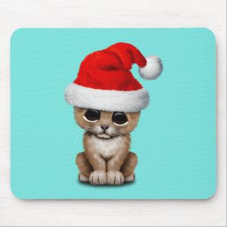 Cute Lion Cub Wearing a Santa Hat Mouse Pad