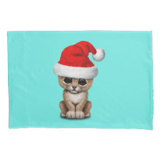 Cute Lion Cub Wearing a Santa Hat Pillowcase