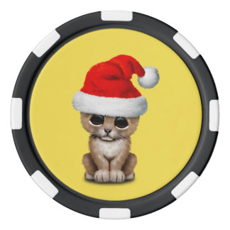 Cute Lion Cub Wearing a Santa Hat Poker Chips