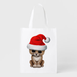 Cute Lion Cub Wearing a Santa Hat Reusable Grocery Bag
