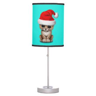 Cute Lion Cub Wearing a Santa Hat Table Lamp