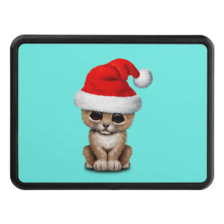 Cute Lion Cub Wearing a Santa Hat Trailer Hitch Cover