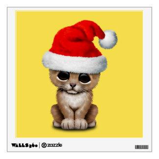 Cute Lion Cub Wearing a Santa Hat Wall Sticker