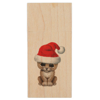 Cute Lion Cub Wearing a Santa Hat Wood USB Flash Drive