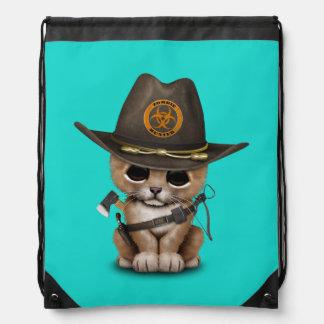 Cute Lion Cub Zombie Hunter Drawstring Bag