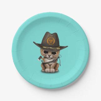 Cute Lion Cub Zombie Hunter Paper Plate