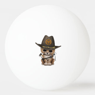Cute Lion Cub Zombie Hunter Ping Pong Ball