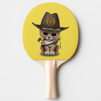 Cute Lion Cub Zombie Hunter Ping Pong Paddle