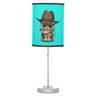 Cute Lion Cub Zombie Hunter Table Lamp
