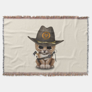 Cute Lion Cub Zombie Hunter Throw Blanket