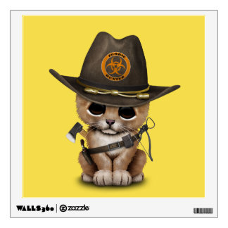 Cute Lion Cub Zombie Hunter Wall Sticker