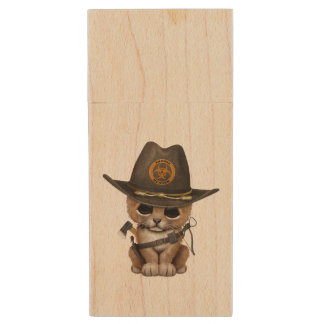 Cute Lion Cub Zombie Hunter Wood USB Flash Drive