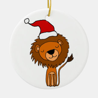 Cute Lion in Santa Hat Christmas Cartoon Ceramic Ornament