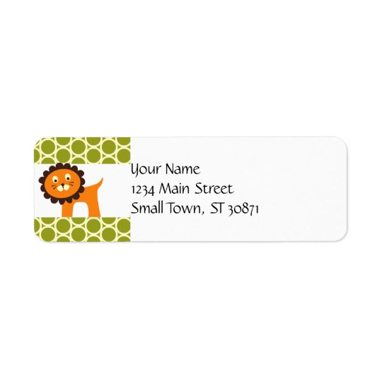 Cute Lion on Green Pattern Gifts for Kids Return Address Label