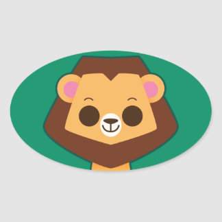 Cute Lion on Green Oval Stickers