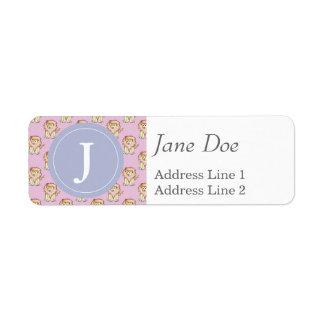 Cute Lion Pattern, Purple Background Return Address Label