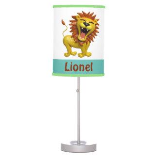 Cute Lion Roaring Boy's Room Nursery Blue Green Table Lamp