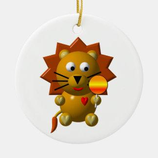 Cute lion with lollipop! round ceramic ornament
