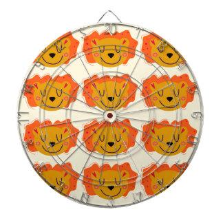 Cute lions on gold dartboard