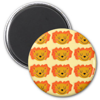 Cute lions on gold magnet