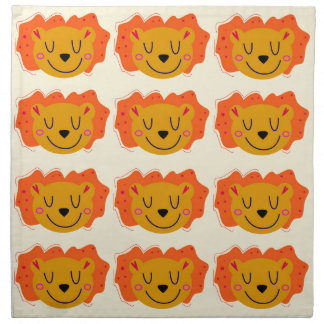 Cute lions on gold napkin