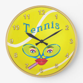 Cute Lipstick Tennis Face Tennis Clocks for Her