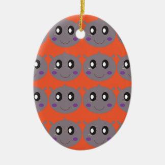 Cute litle Hippos on Orange Ceramic Ornament