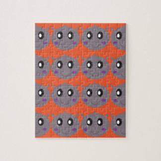 Cute litle Hippos on Orange Jigsaw Puzzle