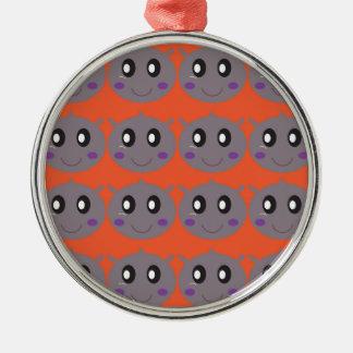 Cute litle Hippos on Orange Metal Ornament