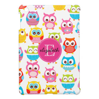 Cute Litte Owls Monogrammed iPad Mini Cases