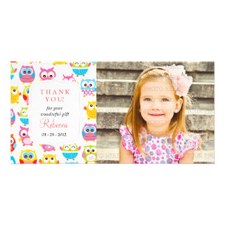 Cute Litte Owls Photo Any Occasion Thank you Picture Card