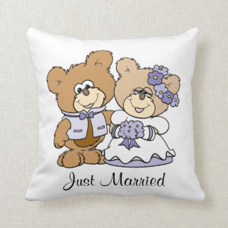 cute litte teddy bear wedding couple throw pillow