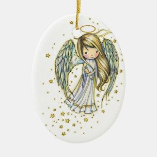 Cute Little Angel in the Stars Fantasy Art Ceramic Ornament