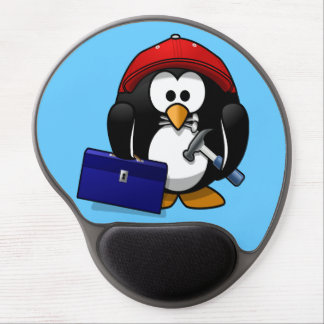 Cute little animated craftsman penguin gel mouse pad