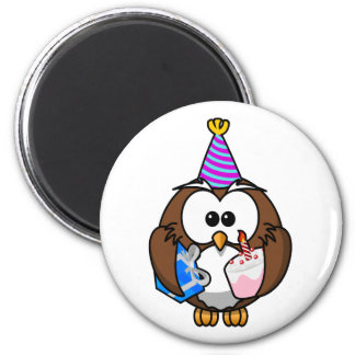 Cute little animated party owl 2 inch round magnet