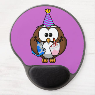 Cute little animated party owl gel mouse pad