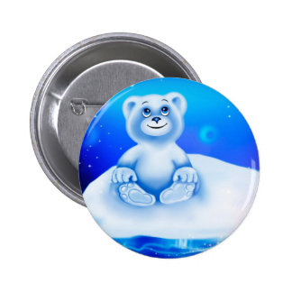 Cute, little animated polar bear 2 inch round button