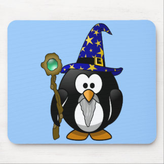 Cute little animated wizard penguin mouse pad