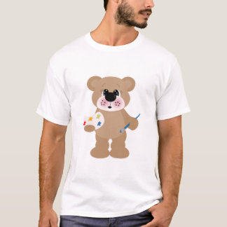 cute little artist bear with paint palette T-Shirt