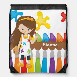 Cute Little Artist Drawstring Backpack