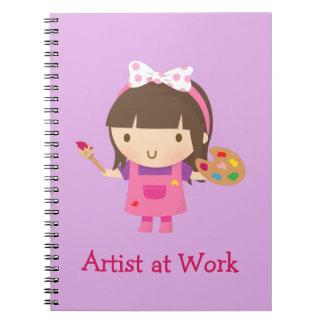 Cute Little Artist Painter Girl at Work Notebook