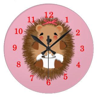 Cute Little Baby Hedgehog Whimsy Illustration Wallclock