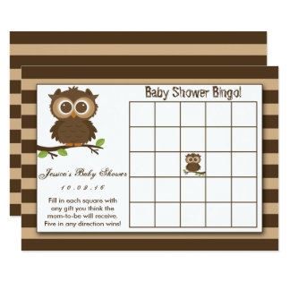 Cute Little Baby Owl | Baby Shower Bingo Game Card