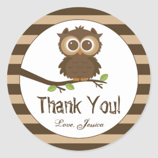 Cute Little Baby Owl   Baby Shower Thank You Favor Classic Round Sticker