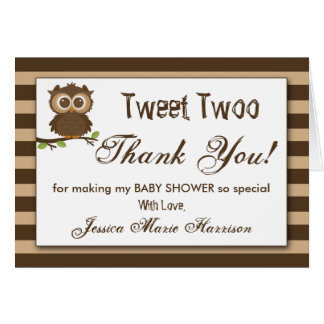 Cute Little Baby Owl | Baby Shower Thank You Note Card