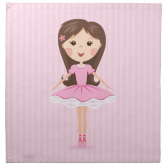 Cute little ballerina cartoon girl in pink tutu napkin